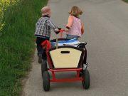 Familienausflug mit Bollerwagen